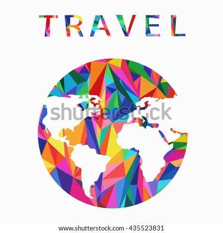 Vector globe sphere, map design. Travel. Abstract background background. World map background in polygonal style. A stylized map of the world of multi-colored triangles.  - stock vector