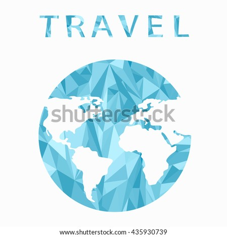 Vector globe sphere, map design. Travel. Abstract background . World map background in polygonal style. A stylized map of the world of blue triangles.Info graphic  - stock vector