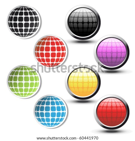 Vector globe stickers and buttons - stock vector