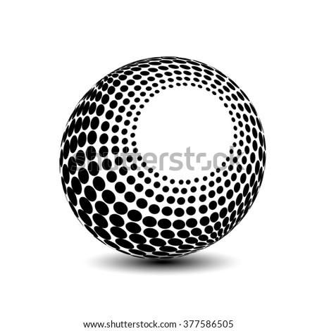 Vector globe symbol - 3d icon of sphere, dotted orb - stock vector