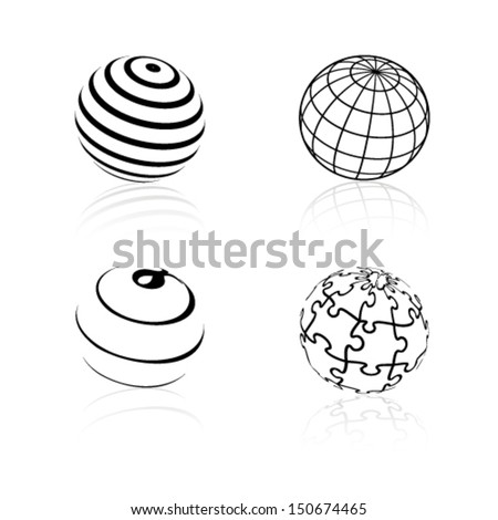 Vector globe symbols - icons of world - stock vector