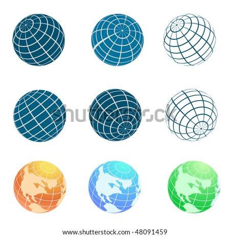 vector globe symbols set - stock vector