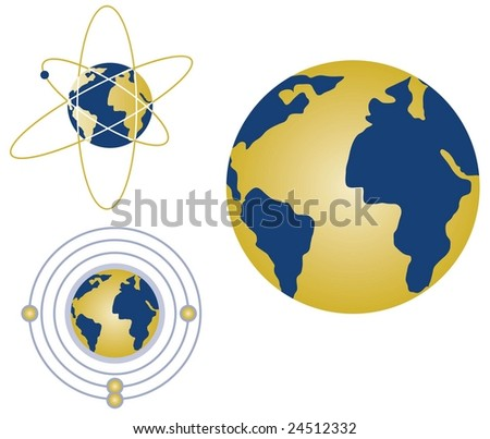 Vector globe with atoms and energy rings