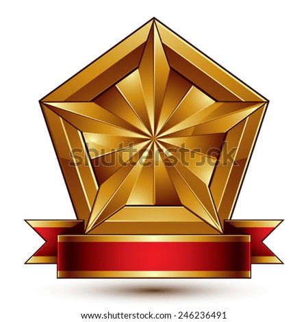 Vector glorious glossy design element, luxury 3d pentagonal golden star placed on a decorative blazon, conceptual graphic coat of arms with wavy red ribbon, clear EPS 8. - stock vector