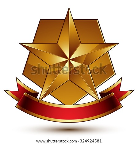 Vector glorious glossy design element, luxury 3d pentagonal golden star placed on decorative blazon, conceptual graphic coat of arms with wavy red ribbon, clear EPS8. - stock vector