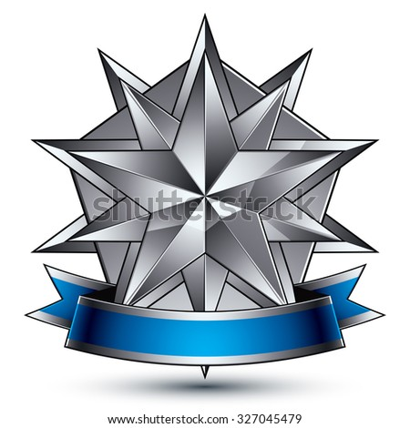 Vector glorious glossy design element, luxury 3d polygonal silver star, conceptual complicated graphic shield template with festive strip, clear EPS 8 decorative medallion. Protection theme. - stock vector