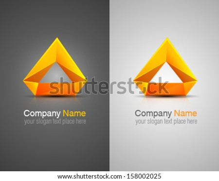 Vector glossy abstract logo. Corporate identity. Design elements. Orange shapes. - stock vector
