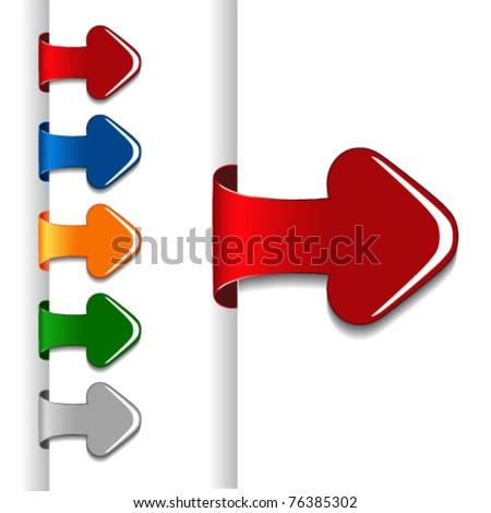 Vector glossy arrow labels - stock vector