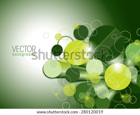 Vector Glossy Background with Green and Yellow Cylinders. - stock vector