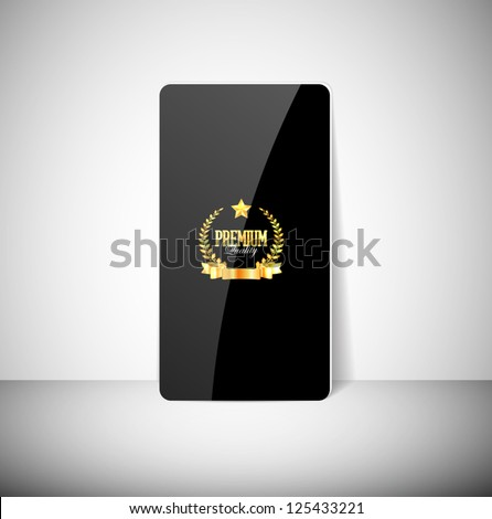 Vector glossy black card with a golden seal with ribbon, laurel wreath and a star - stock vector