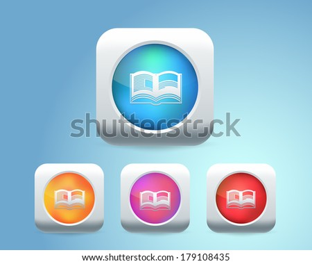Vector Glossy Book Icon - stock vector