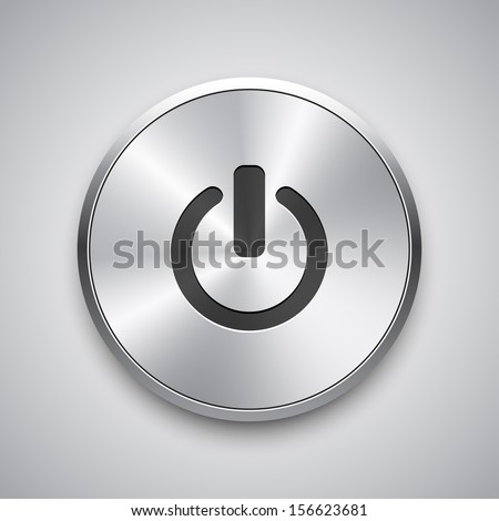 Vector glossy brushed metal silver power button - stock vector