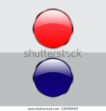 Vector glossy button icon, samples - stock vector