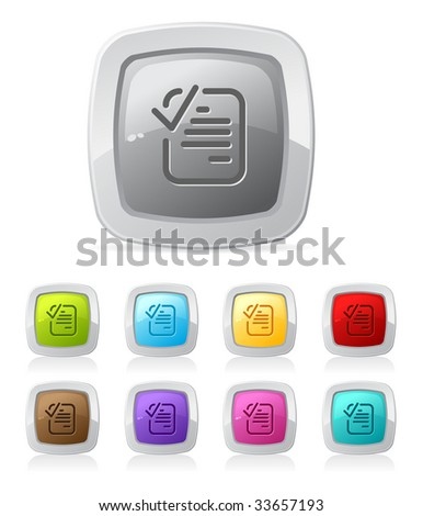 Vector glossy button in various color - checked document - stock vector