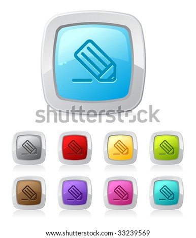 Vector glossy button set in various color - pencil/writing