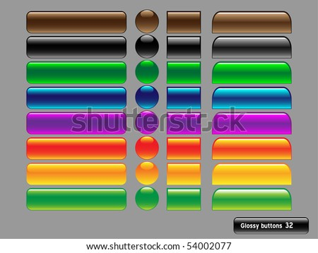 Vector glossy buttons for web design on gray backround. - stock vector