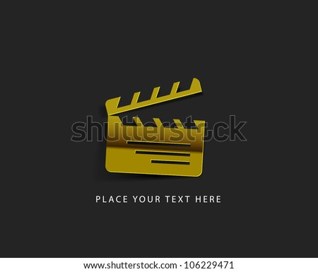 vector glossy clapper board web golden icon design element. - stock vector