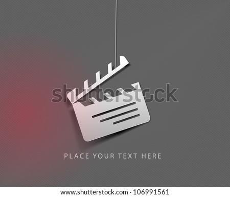 vector glossy clapper board web icon design element. - stock vector