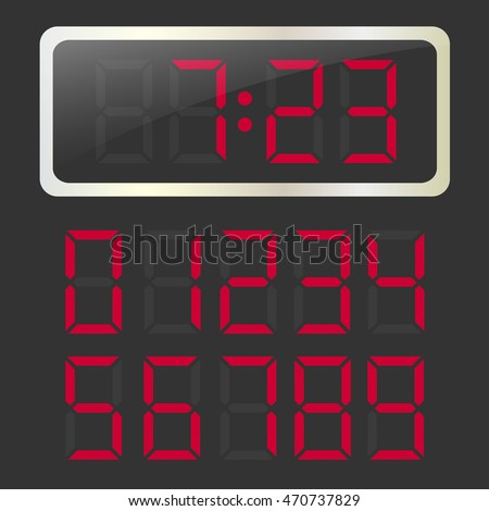Vector glossy clock with red glowing digital numbers