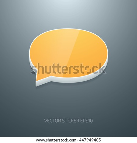 Vector glossy 3d speech bubble icon of white and yellow plastic