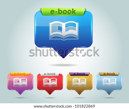 Vector Glossy e-Book Icon and Multicolored - stock vector