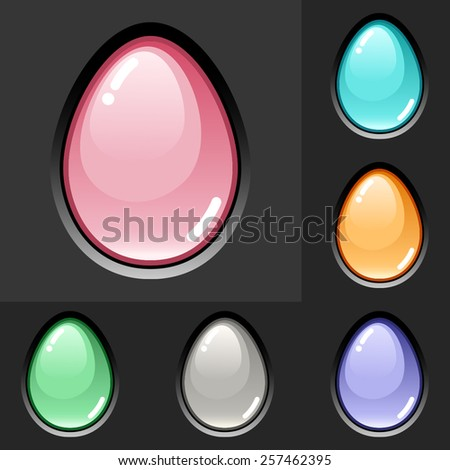 Vector glossy Easter egg set in different pastel colors - stock vector
