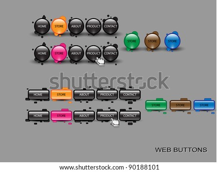 Vector glossy editable website buttons. - stock vector