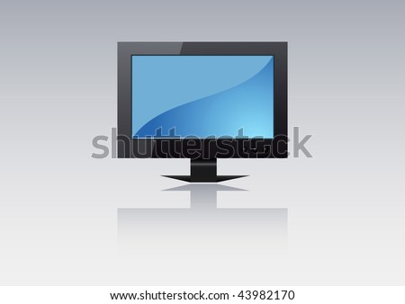 Vector glossy flat TV with reflection - stock vector