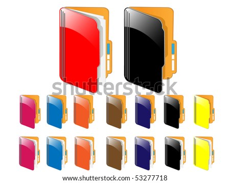 Vector glossy folder icons.(My documents icon) - stock vector