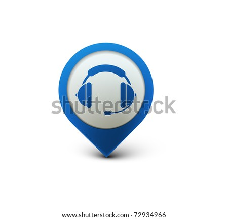 vector glossy headset web icon design element. - stock vector