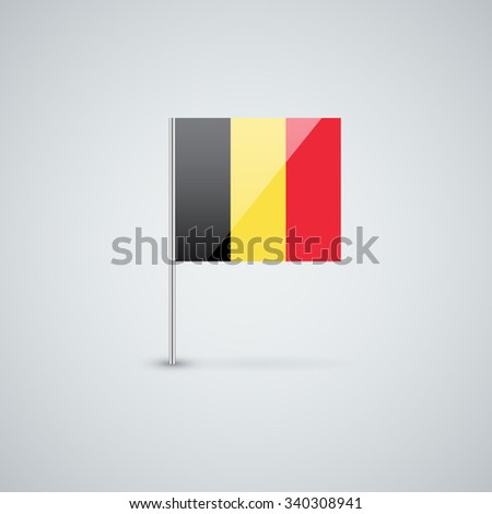 Vector glossy icon with Belgian flag. Correct proportions and color scheme. - stock vector