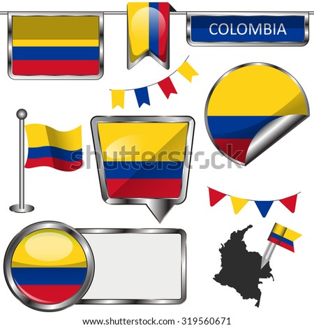 Vector glossy icons of flag of Colombia on white