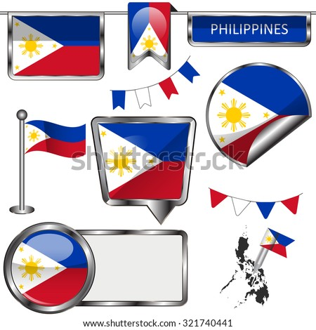 Vector glossy icons of flag of Philippines on white