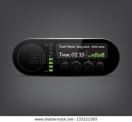 Vector glossy media player for websites (UI) or applications (app) for smartphones, computers or tablets. Plastic style