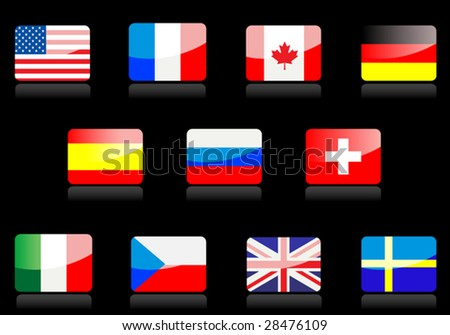 Vector. Glossy national flags on the black background - stock vector