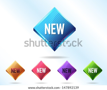 Vector Glossy New Icon/Button - stock vector
