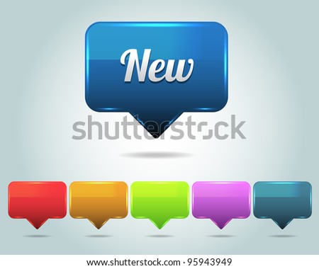 Vector Glossy New Icon/Button and multicolored - stock vector