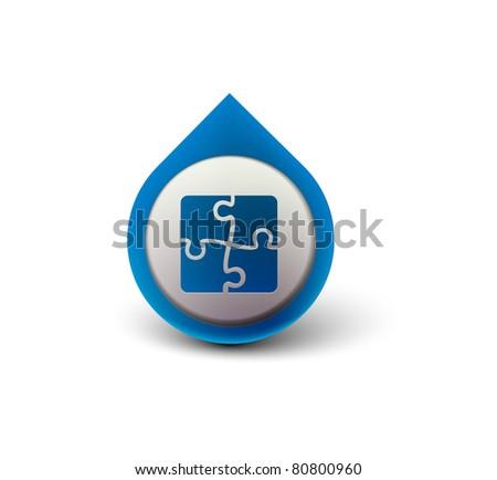 vector glossy puzzle web icon design element. - stock vector