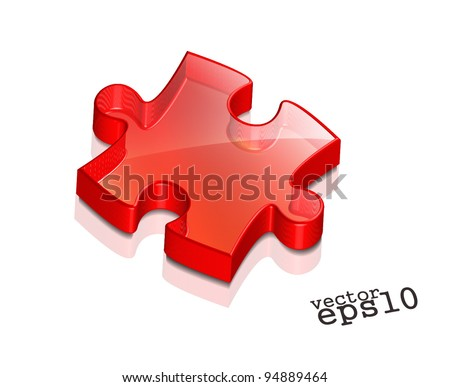 vector glossy puzzle web icon design element. - stock vector