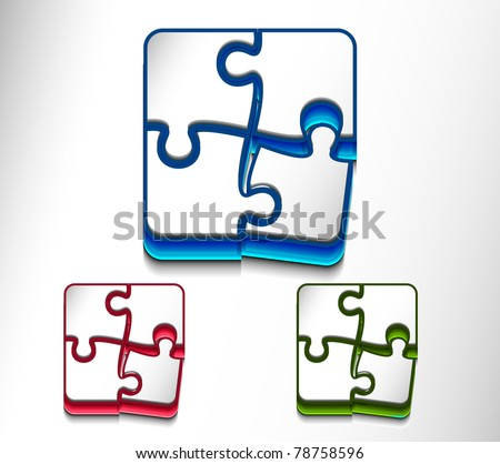 vector glossy puzzle web icon design element set. - stock vector