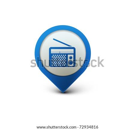 vector glossy radio web icon design element. - stock vector