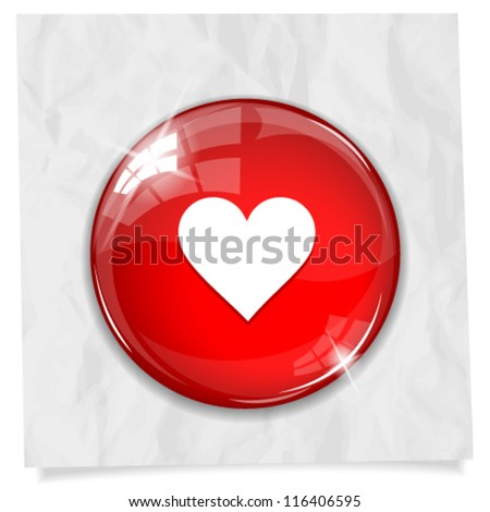 Vector glossy red round heart button on crumpled paper. Image contains transparency in lights and shadows and can be placed on every surface. 10 EPS - stock vector