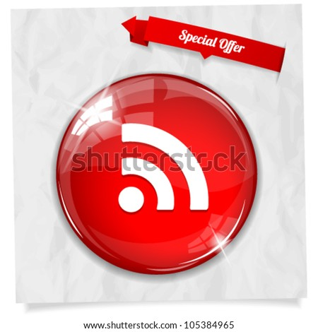 Vector glossy red round RSS button on crumpled paper. Image contains transparency in lights and shadows and can be placed on every surface. 10 EPS - stock vector