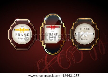 Vector glossy retro frames with metallic shiny borders, with note papers attached with silky ribbons tied in bow knots - dark red - stock vector