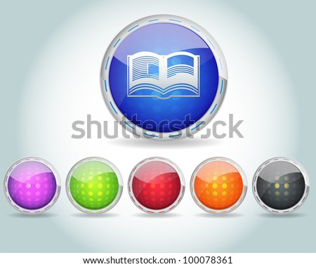 Vector Glossy Round Book Icon and Multicolored - stock vector