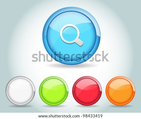 Vector Glossy Round Search Icon/Button and multicolored - stock vector