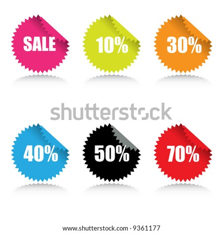 Vector - Glossy sale tag stickers with discount and reflection. - stock vector