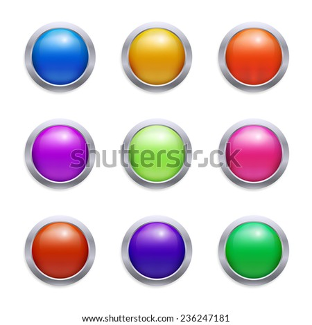 Vector glossy set of buttons - stock vector