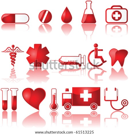 Vector glossy set of different medical related icons