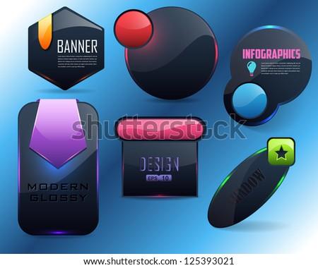 Vector Glossy Shape Icon Banner Button - stock vector